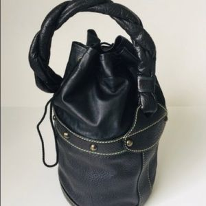 Fendi black leather Palazzo shoulder bucket bag